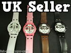 FASION LADIES GIRLS UNISEX PANDA NERD GLASSES FAUX LEATHER WRIST WATCH UK SELLER