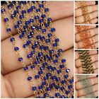 1 Foot Wholesale Multi Glass Beads Rosary Style Beaded Wire Wrap Chain Necklace