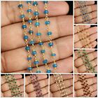1 Foot Wholesale Gemstone Beads Rosary Style Beaded Wire Wrap Chain Necklace #2