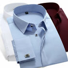 Luxury French cuffs formal business man pure shirts T6332 4 Colours