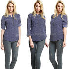 New Ladies Womens Chiffon  Shirt Floral Print Long Sleeve Blouse Casual Tops