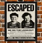 Framed Home Alone 'Escaped' Movie Poster A4 / A3 Size In Black / White Frame