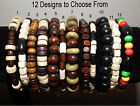 Mens Boys Wood Bead Bracelet - Surfer Beach Arm Candy Ethnic Rasta Hippy Unisex