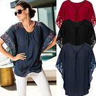 UK 8-22 New Women Oversized Lace Batwing T Shirt Vintage Ladies Tops Blouse