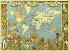 Vintage Style Map of The World 1886 Victorian British Empire VBM01 A3 A4 Poster
