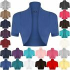 Womens Cropped Ladies Bolero Short Sleeves Open Cardigan Shrug Top Plus Sizes