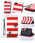 Bicolor Stripe Anchor PU Leather Strap Wallet Purse Case Bag For iPhone Samsung
