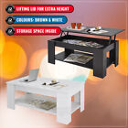 Modern Lift Top Coffee Table Mechanical Lifting Convertible Interior Storage NEW