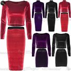 Womens Ladies Velvet Polo Scoop Neck High Waist Midi Mini Skater Skirt Crop Top