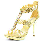 Women's Evening Strappy Rhinestone Platform Sandal Zip Up High Heel Shoe