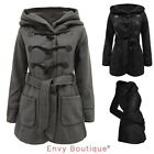 LADIES OVERSIZED HOODED VINTAGE WOMENS FLEECE JACKET BELTED TRENCH DUFFLE COAT