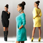 Autumn Women's Casual Long Sleeve Pocket Bottoming Base Solid Daily Simple Dress