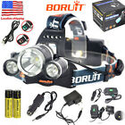 BORUiT Rechargeable 13000LM XM-L2 LED Headlamp USB Head Torch Light 2x18650 USA