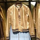 ZARA NEW A/W 2016. GOLD TONED BOMBER JACKET WITH ZIP. REF 5070/205.