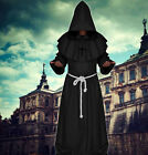 NEW Friar Medieval Cowl Hooded Monk Renaissance Priest Robe Costume Cosplay