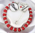 S.Bracelet -6mRed - R.S Name First Christmas Heart,Baby's First Christmas,1st ,1
