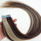 20PCS PU Seamless Skin Tape in Remy Real Human Hair Extensions Mixed Color#4/613