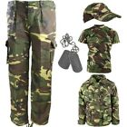 BOYS ARMY OUTFIT KIDS DPM TROUSERS T-SHIRT COAT CAP DOG TAGS FANCY DRESS CAMO