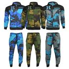 Boys Camouflage Print Turquoise Royal Blue Green Hooded Full Tracksuit 7-13 Yrs