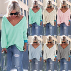 Kyпить New Womens Long Sleeve V Neck Loose Knitted Sweater Ladies Casual Jumper Tops на еВаy.соm