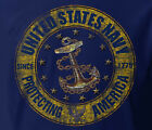 US Navy USN Distressed Protecting America LONG SLEEVE NAVY Adult T-shirt