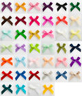 Pack 100 - 3cm Wide Satin Pre-Tied Bows (6mm Ribbon) Crafts Wedding
