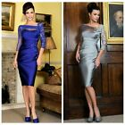 New 3/4 sleeves Mother of the Bride Groom Wedding Dress Beaded+Lace+Pleat