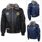Crosshatch Emmay Mens Detachable Faux Fur Collar Padded Harrington Bomber Jacket