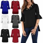 Womens Ladies Dip Hem Eyelet Holes V Wrap Neck Peplum Frill 3/4 Sleeve Hi Lo Top
