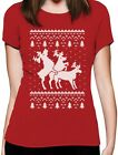 Ugly Christmas Party Sweater Humping Reindeer Funny Women T-Shirt Gift
