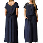 Women's Summer Casual Loose Long Dress Lace Embroidery Maxi Dress Plus Size