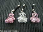 TINY SMALL MINIATURE CUTE BLING JEWELLED DIAMONTE HANDMADE TEDDY BEAR CHARM 2cm