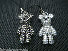 BLING JEWEL DIAMONTE SILVER PURPLE TEDDY BEAR MOBILE PHONE HANDBAG CHARM 5cmTALL