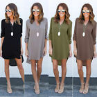 Women Blouse Chiffon Long Sleeve Ladies T Shirt Casual Loose Short Dress...