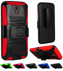 For ZTE Avid Trio ZTE Cheers Hybrid Side Kickstand Holster Clip Cover Case