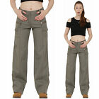 New Ladies Womens Army Green Cotton Wide Loose Leg Cargo Pants Combat Trousers