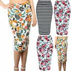 Womens Ladies Floral Summer Sunny Print Stretchy High Waisted Bodycon Midi Skirt