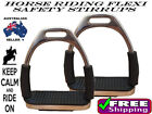 HORSE RIDING STAINLESS STEEL SAFETY FLEXI SADDLE STIRRUP IRONS WITH TREADS 5""