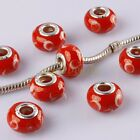 Red Vintage Murano Lampwork Glass Loose Rondelle European Big Hole Beads