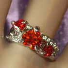 New Women's Silver Alloy Triple Ruby Crystal Heart Rings