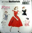 Butterick Retro Sewing Pattern 5708 Ladies 50s Tie Shoulder Dress Pick Size