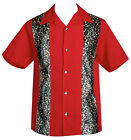 Steady LEOPARD PANEL Animal Print Rockabilly Bowling Shirt - Red - Size S - 3XL