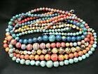 UK cheapest-red green blue jasper graduated round 6-14mm gemstone beads necklace