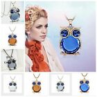 Woman's Fashion Opals Owl Crystal Long Pendant Necklaces Sweaters Chain Jewelry