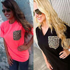 Fashion Ladies Women Leopard Print Short Sleeve Casual Loose T shirt Tops Blouse