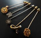 ANTIQUE VINTAGE Choice of 5 GOLD STICK PINS Diamond Pearl Sapphire Stickpin Tie