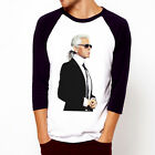 KARL LAGERFELD-Fashion Leader Designer Baseball t-shirt 3/4 sleeve Raglan Tee