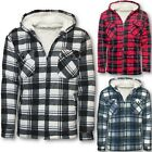 MENS SHERPA FUR LINED HOODED WORK SHIRT M-2XL JACKET WINTER LUMBERJACK WALKING