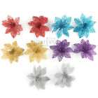 10pcs New Christmas Flowers Xmas Tree Decorations Glitter Hollow Wedding Party