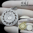 MEN 925 STERLING SILVER ICED BLING SILVER/GOLD MASONIC ROUND CHARM PENDANT*SP125